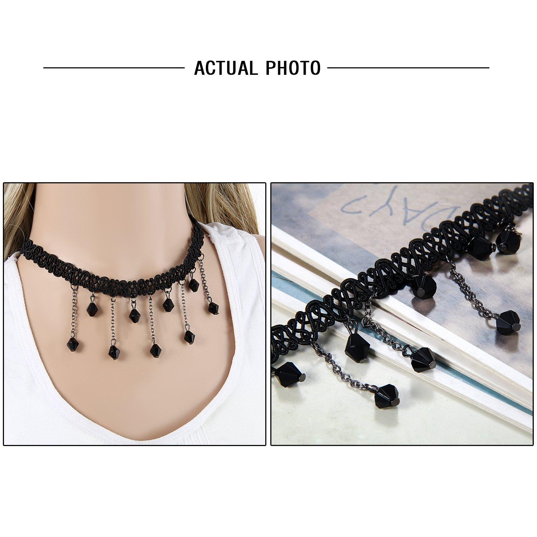 Flongo Women Girl 3PCS Black Retro Gothic Lace Choker Necklace Collar Neckband 13 inch