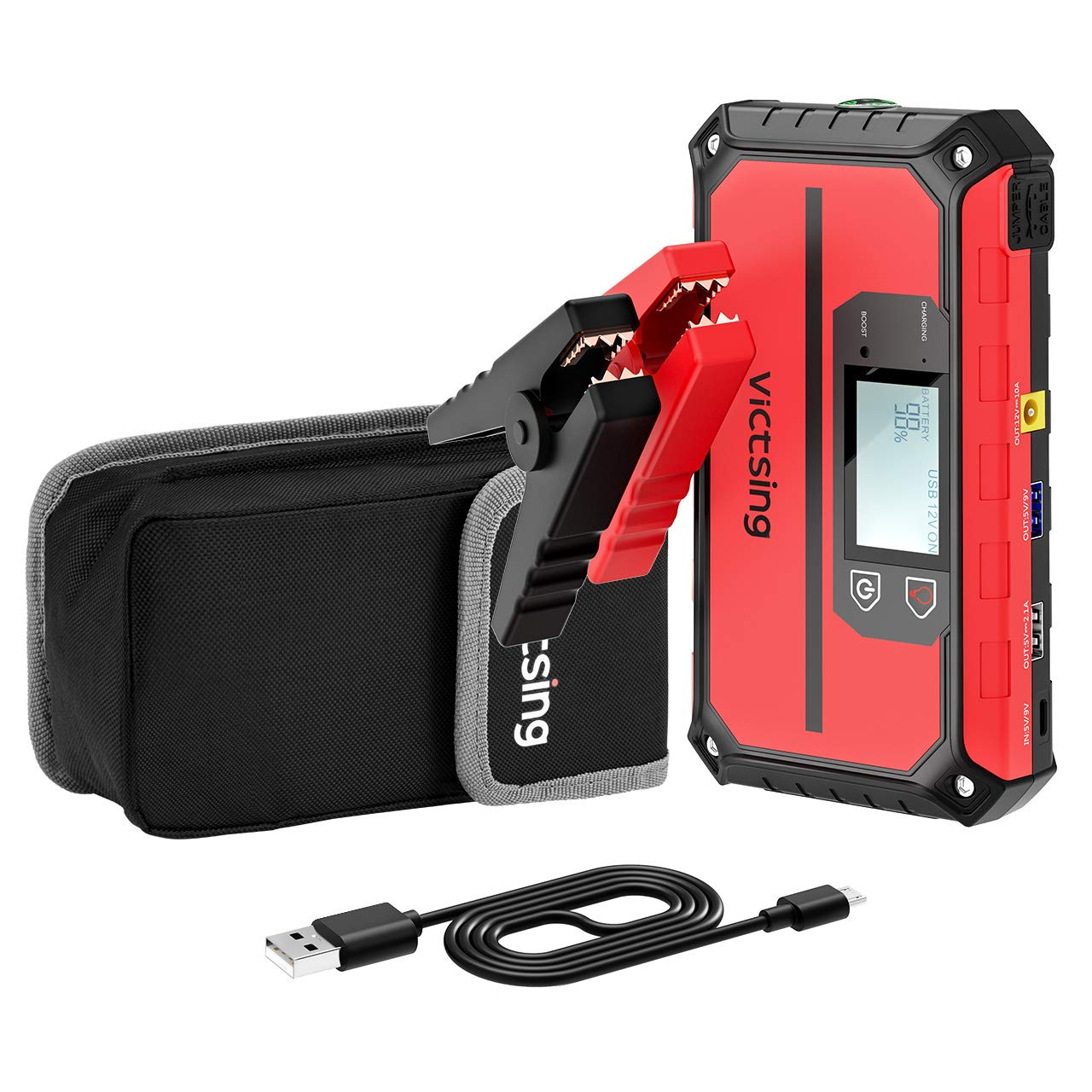 VicTsing 1000A Peak 20800mAh Portable Car Jump Starter (Up To 8.0L Gas, 6.0L Diesel Engine), 12V Auto Battery Booster,5 In 1 Compact Power Pack With QC3.0 Output, Built-in Compass And LED Light.