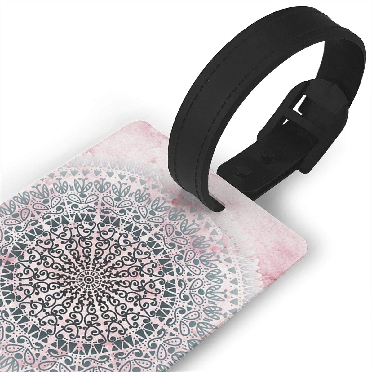 Set of 2 ICELAND MANDALA IN PINK Luggage Tags Suitcase Labels Bag Travel Accessories