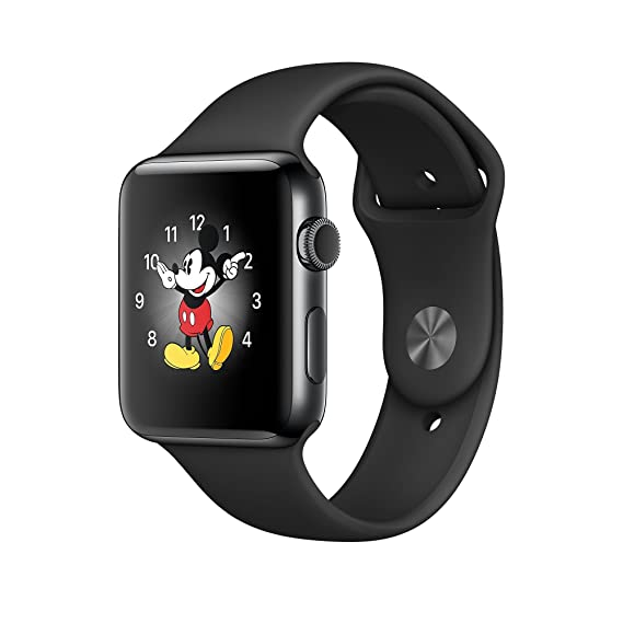 brand new 7b550 6e8af Apple Watch Series 2, 42mm Space Black Stainless Steel Case with Black  Sport Band (Renewed)