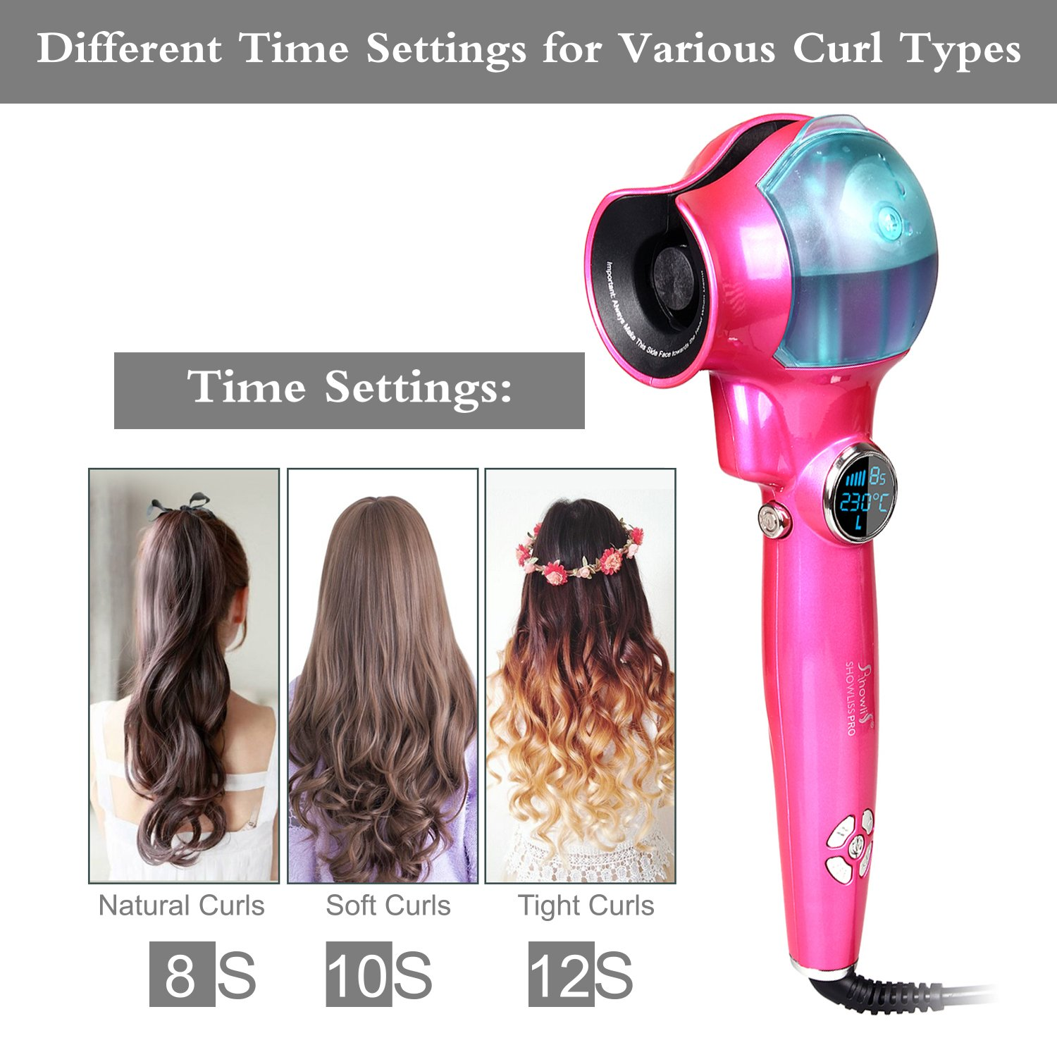 Amazon.com: Curling Iron, Professional Automatic Spray Curl Machine, LED Display hair curler (Pink): Beauty