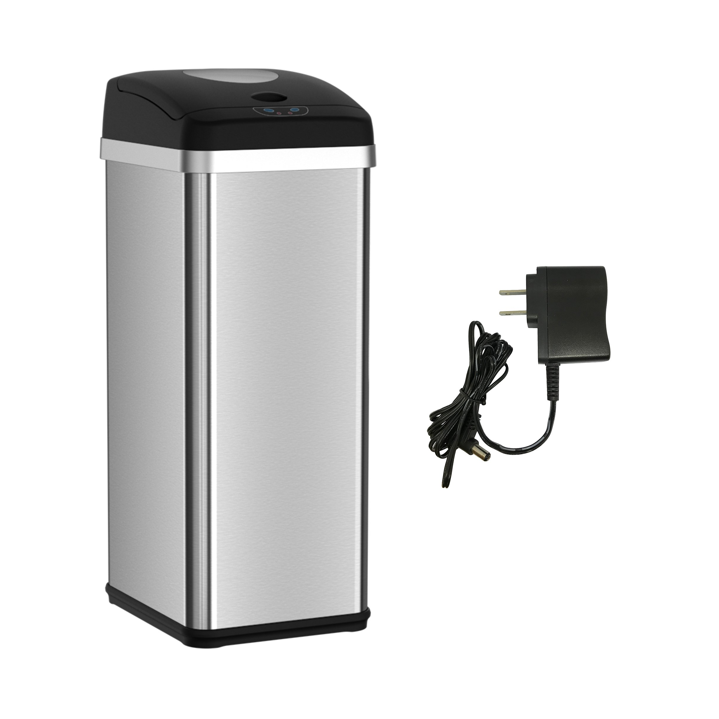iTouchless Squeeze Trash Compactor with Touchless Lid and AC Adapter – Compact Waste, Save Space – Stainless Steel – 49 Liter / 13 Gallon