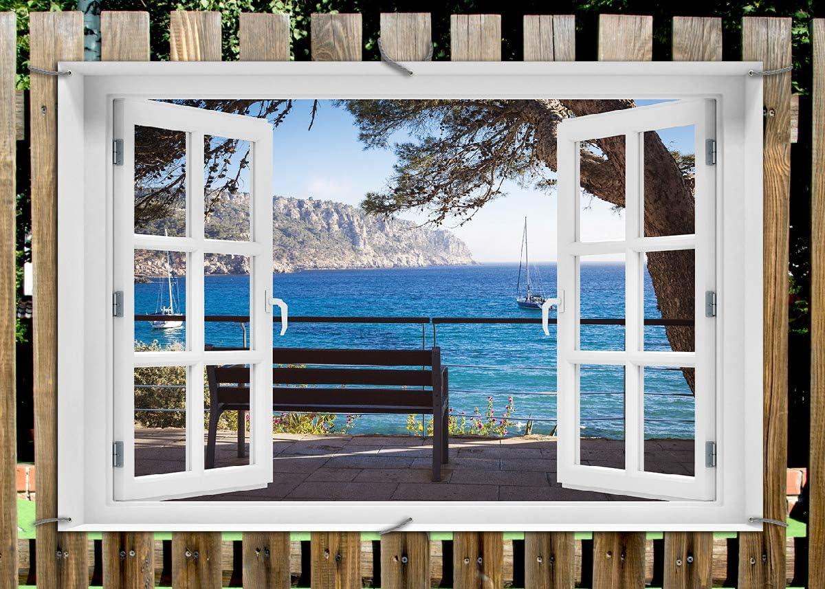 Wallario Garten-Poster Outdoor-Poster f/ür den Au/ßeneinsatz geeignet Spanien im Sommer in Premiumqualit/ät Einsame Bank am Meer Gr/ö/ße: 61 x 91,5 cm