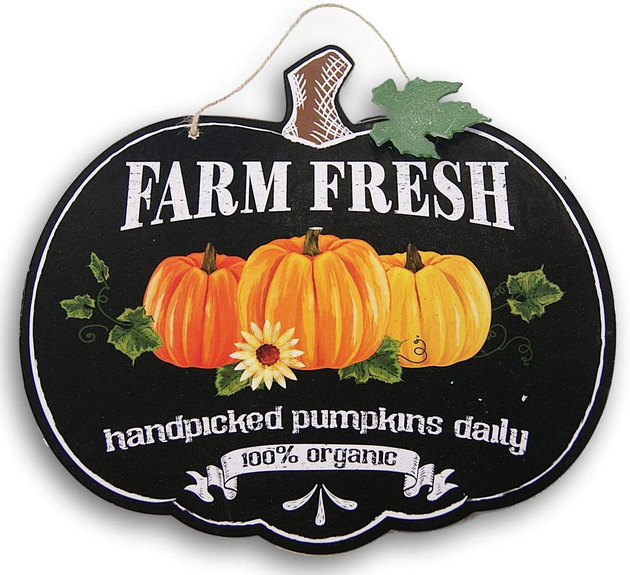 Fantastic Fall Decorative Pumpkin Shaped ''Farm Fresh'' Hanging Sign - 11.5 x 10.5 Inches