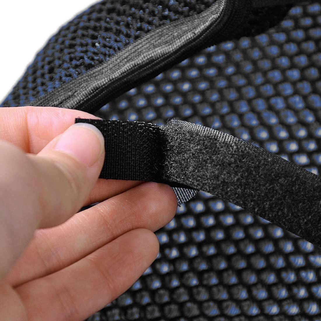 uxcell XL Heat Resistant Breathable Seat Saddle 3D Mesh Cover Black Blue for Motorcycle
