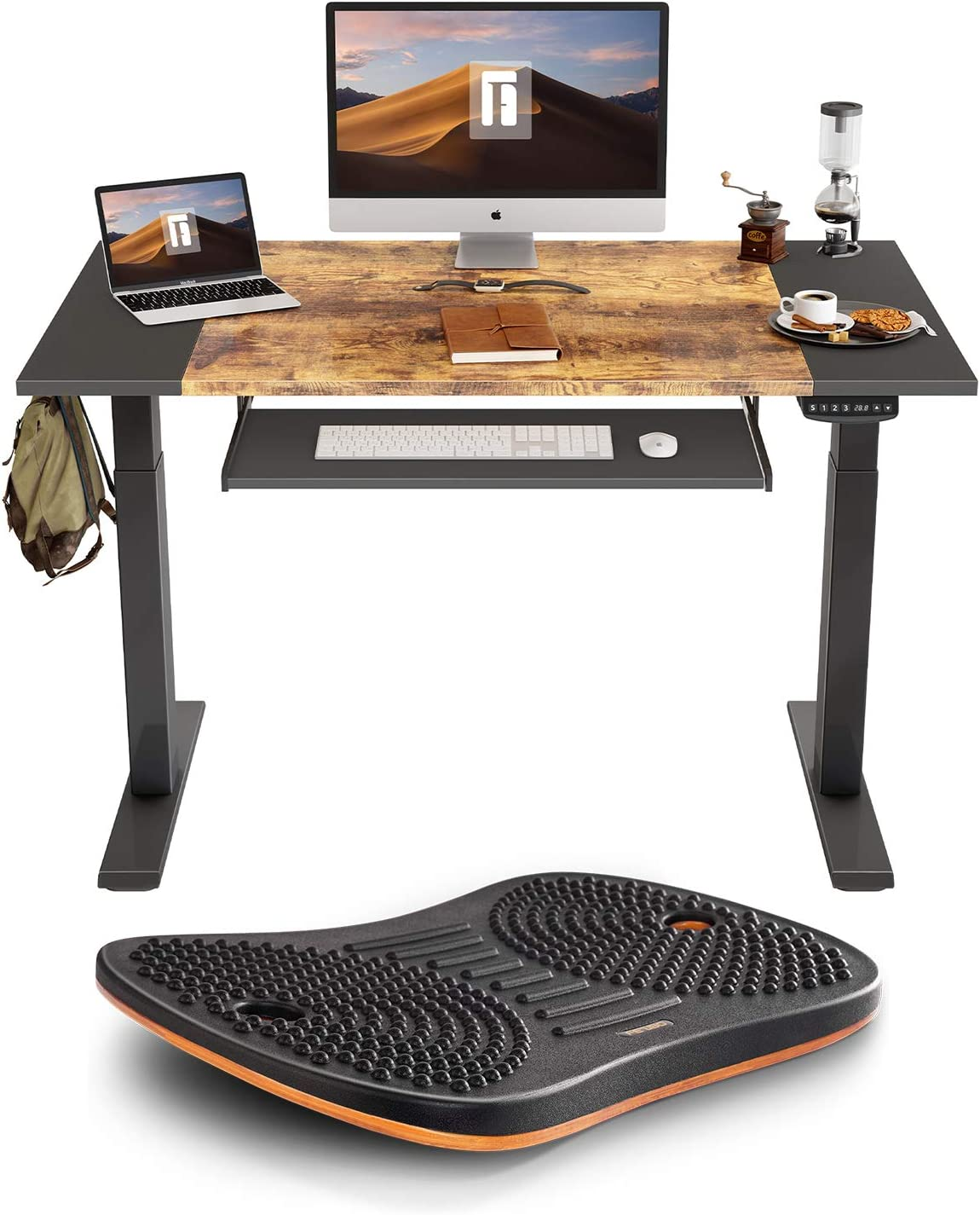 FEZIBO Dual Motor Standing Desk with Pull-Out Keyboard Tray, 48 x 24 inches Splice Board | Anti Fatigue Mat Wooden Wobble Balance Board (Medium, Obsidian Black)