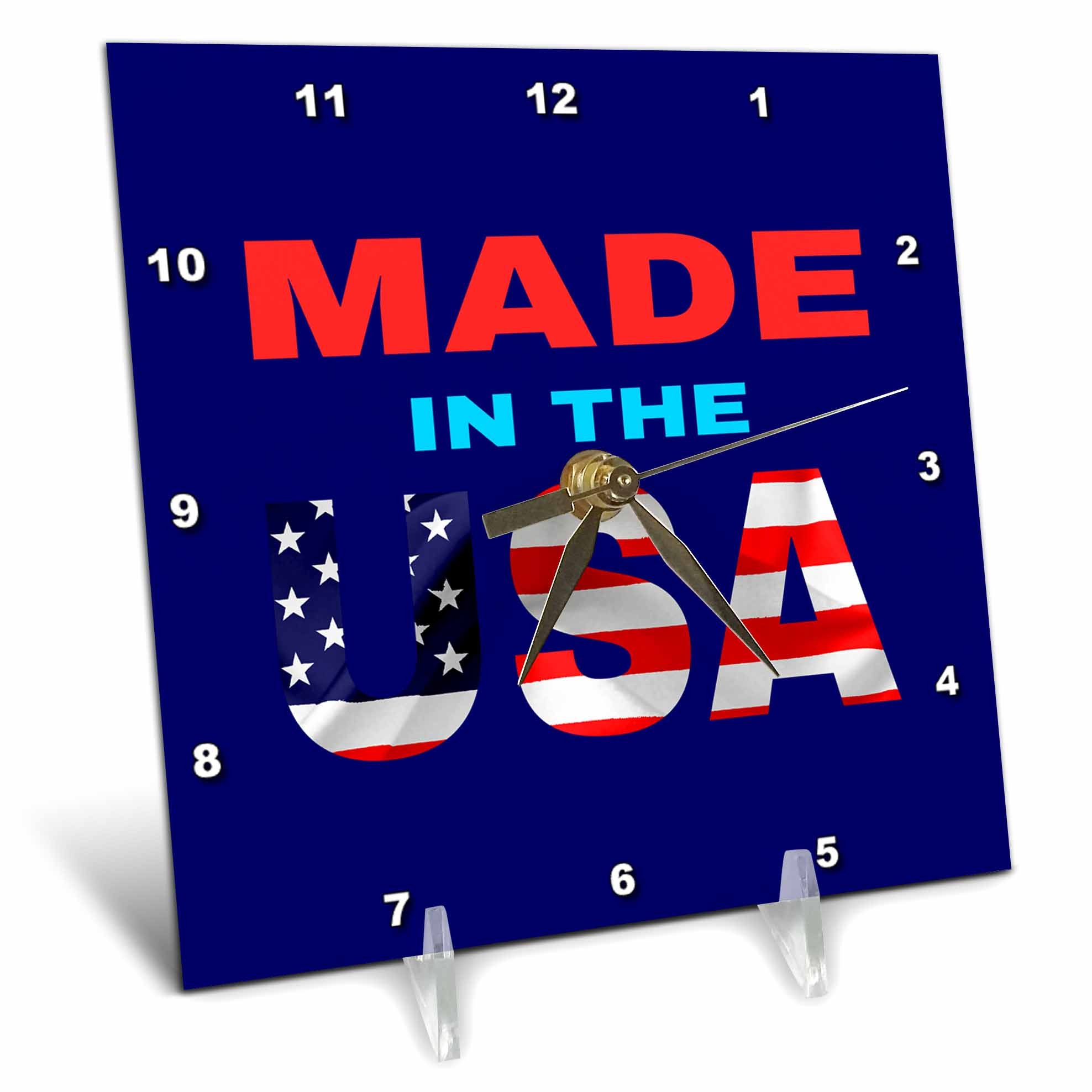 3dRose Alexis Design - America - Made in the USA text. Flag over the USA. Blue background - 6x6 Desk Clock (dc_270544_1)