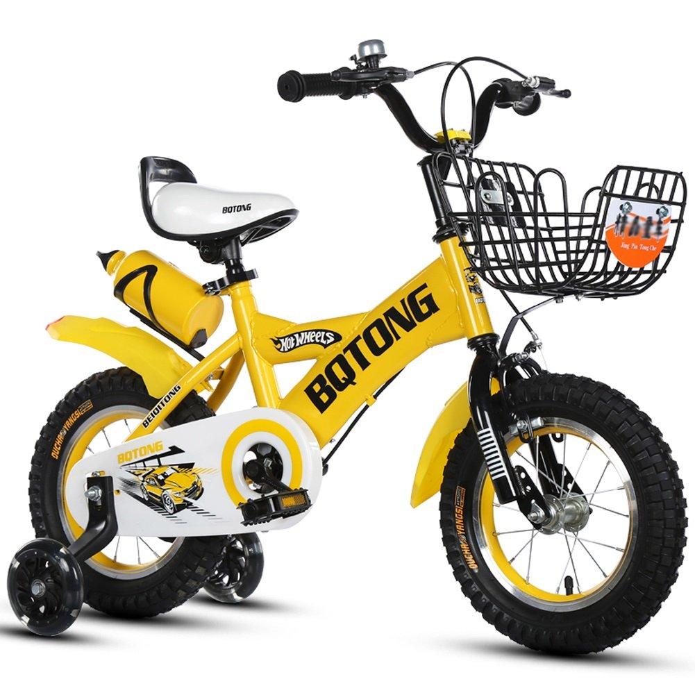 【在庫処分大特価!!】 CHS@ B07Q1P41ZV (色 子供の自転車バイクの自転車2-4-6歳の自転車12-14-16-18インチ男の子と女の子足湯 子ども用自転車 (色 : イエロー いえろ゜, サイズ : さいず : 14