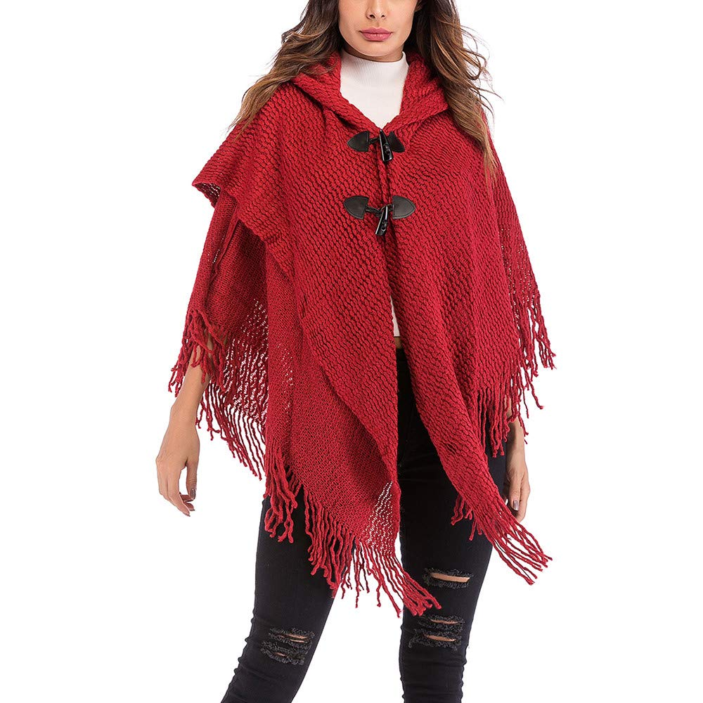 Transer Women Loose Tassels Button Hood Cloak Cape Poncho Jacket Coat Knit Sweater Shawl 81003hp001BG