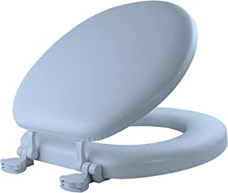 product image for MAYFAIR 13EC 034 Soft Toilet Seat Easily Removes, ROUND, Padded with Wood Core, Sky Blue