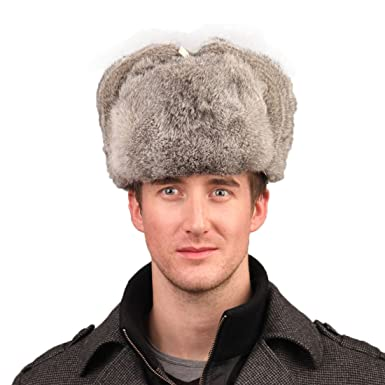 25fac8b4572a9 URSFUR Men s Rabbit Full Fur Russian Ushanka Trooper Hats Multicolor (Gray)  at Amazon Women s Clothing store