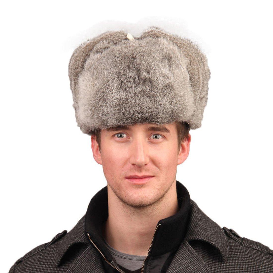 URSFUR Mens Rabbit Full Fur Russian Ushanka Trooper Hats Multicolor