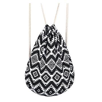 Abaría - Mochila de cuerdas con bolsillo cremallera, bolsas de gimnasio impermeable mochila saco para mujer hombre infantil