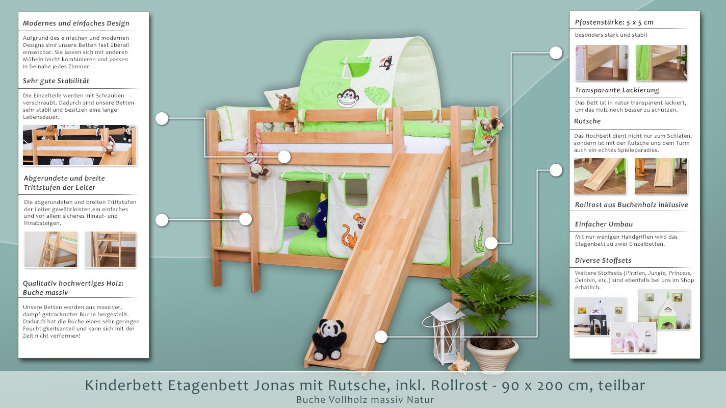 Etagenbett Teilbar Mit Rutsche : Kinderbett etagenbett jonas buche vollholz natur massiv mit