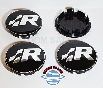 ZOOM - 4 tapacubos centrales de 65 mm, color negro y cromado, para Volkswagen Golf Polo Lupo Bora Scirocco UK: Amazon.es: Coche y moto