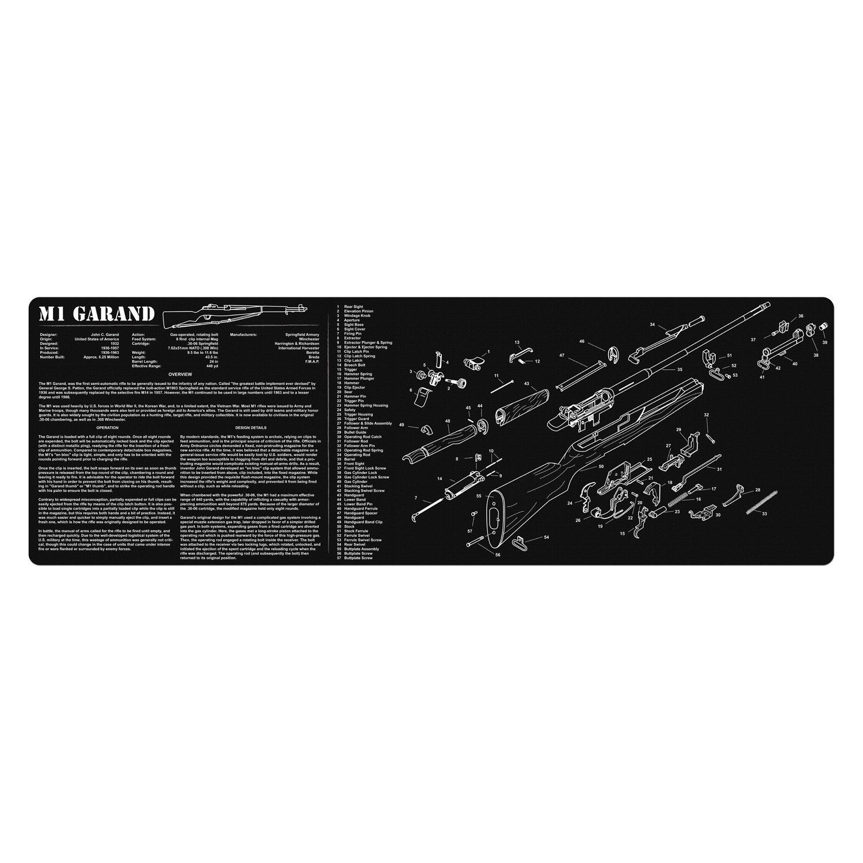 TekMat 12Inch X 36Inch Long Gun Cleaning Mat with M1 GARAND Imprint, Black