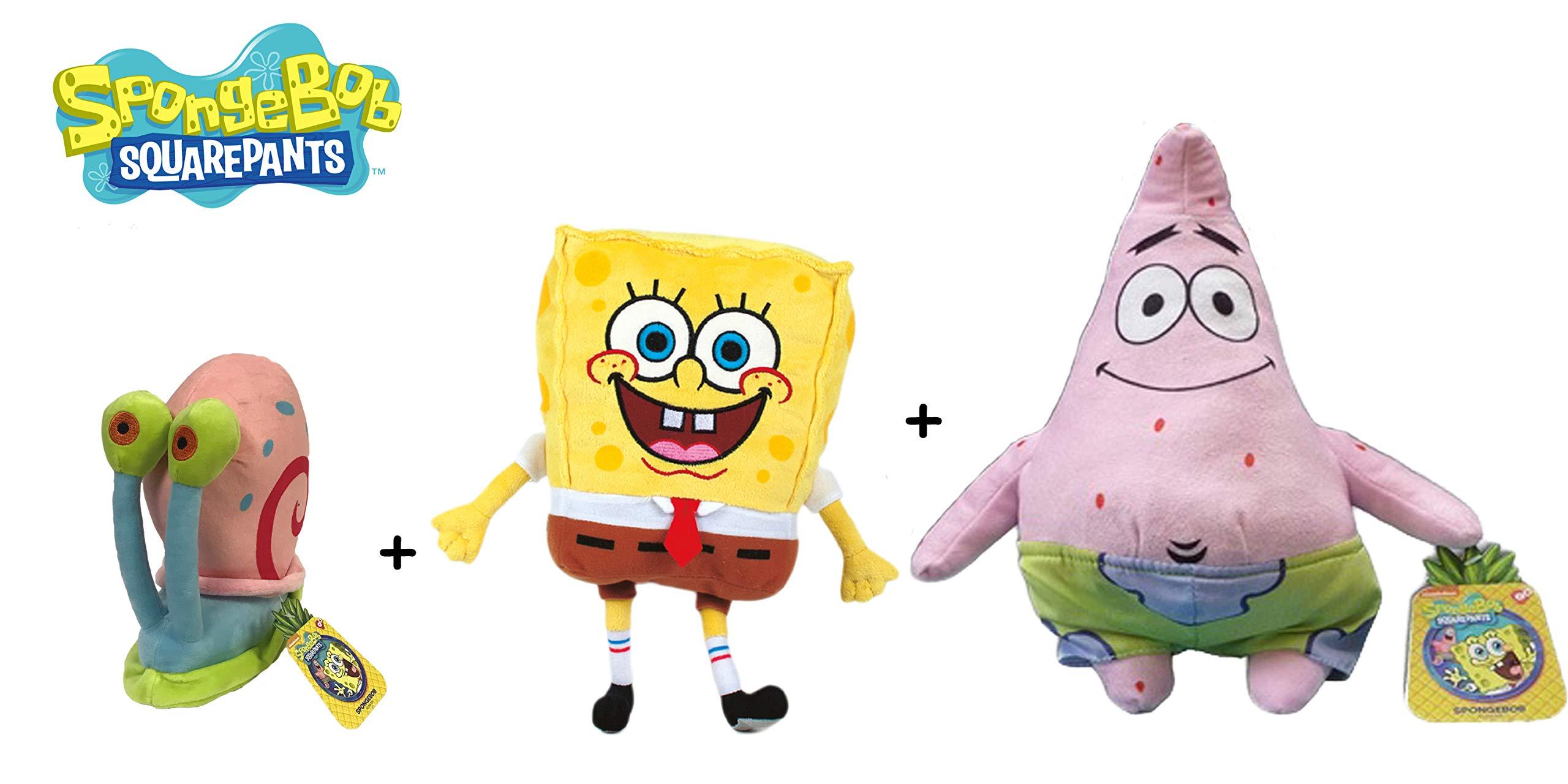 SPONGEBOB - Set of 3 Plush Toys ''Bob''(yellow 7''/18cm), ''Patrick'' (pink 8''/22cm) and ''Gary'' (pink 5''/13cm) - Quality Super Soft by SpongeBob SquarePants