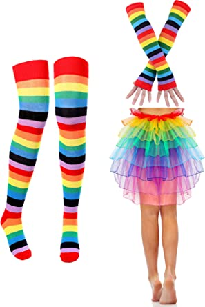 XL Rainbow Socks One Size Striped Over Knee Adult Fancy Dress Accessory