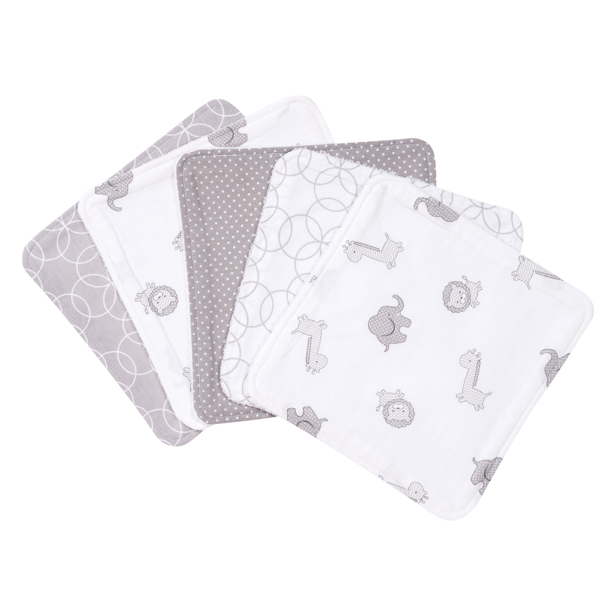 Trend Lab Circles 5 Pack Wash Cloth Set, Gray/White