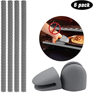 Feilifan Oven Rack Shields, 4 Pack Heat Resistant Silicone Oven Shelf Rack Guard Cover + 2 Pack Mini Mitts, 100% Certified BPA Free, Protect Against Burns and Scars - Gray