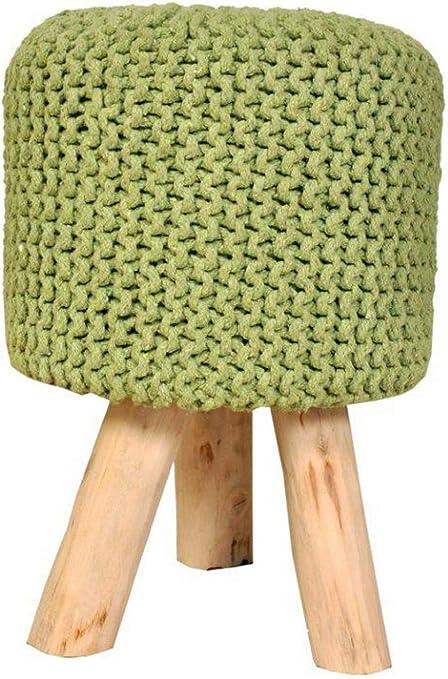 Sitzhocker Strick Hocker Pouf Schemel mit Holzfüßen Ø 35 cm Höhe 45 cm Farbe neon