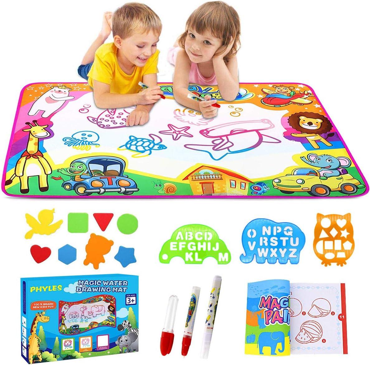 PHYLES Agua Dibujo Pintura, Juegos de Agua, Pizarra Mágica, Pizarra Infantil, Juguetes de Dibujo para niños, Juguete Educativo, Regalo para Niños (M)