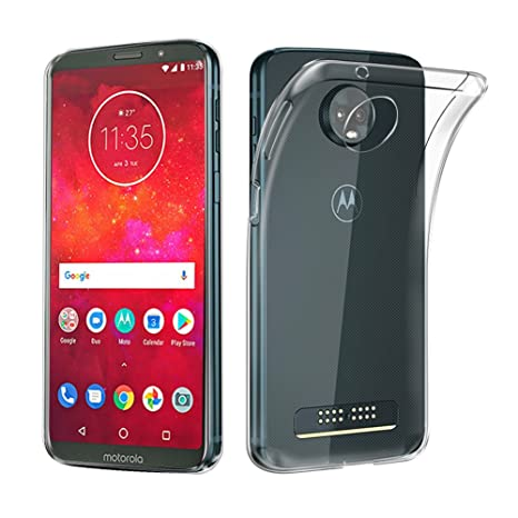 Moto Z3 / Moto Z3 Play Case, AVIDET Shock-Absorption Flexible Soft Gel TPU Silicone Case Cover for Motorola Moto Z3 / Moto Z3 Play (Transparent)