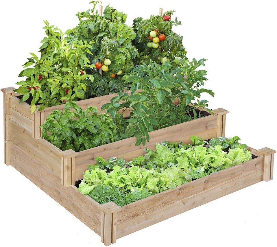 Amazon Com Greenes Fence Rc4t3 Tiered Cedar Raised Garden Bed