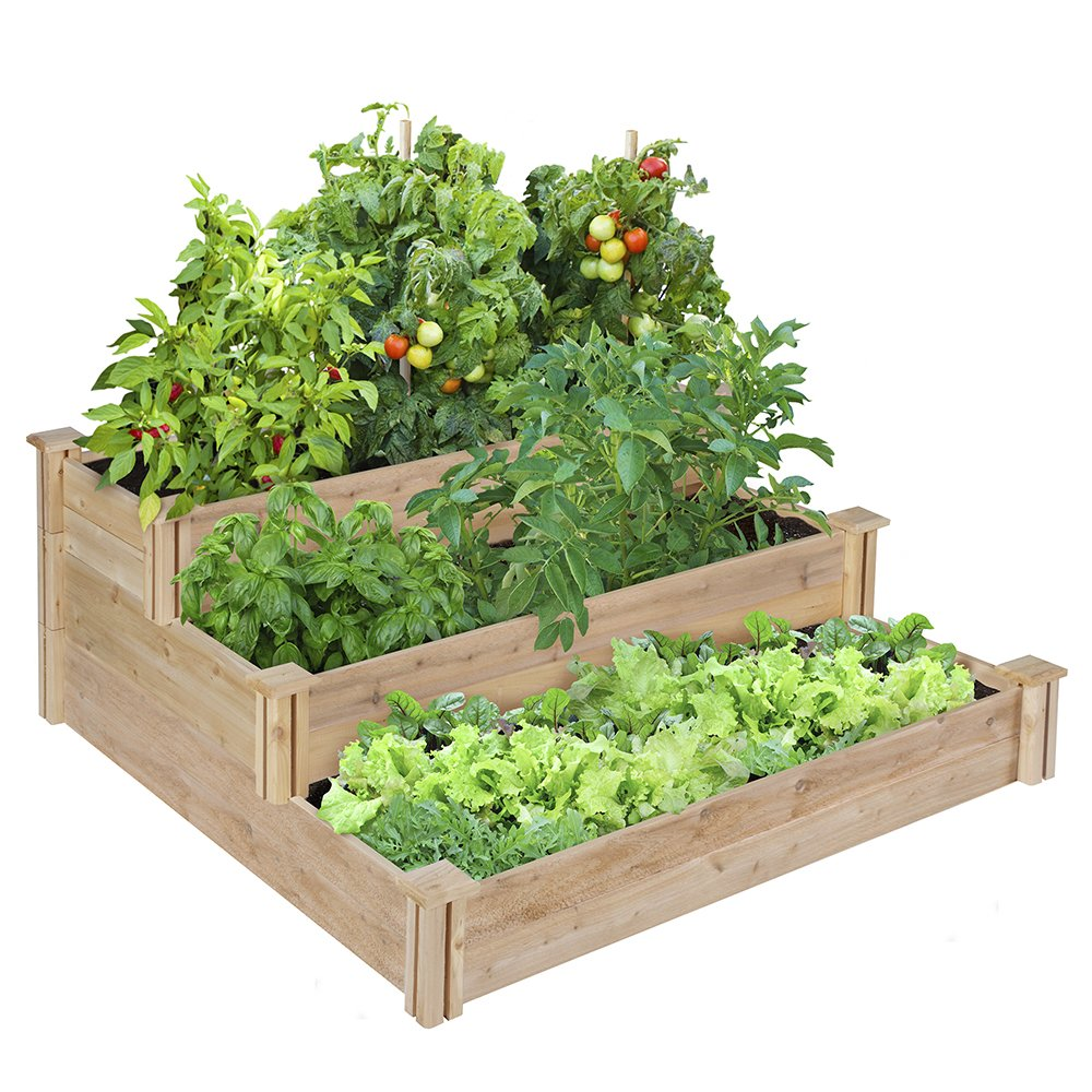 Greenes 4 Ft. X 4 Ft. X 21 In. Tiered Cedar Raised Garden Bed by Greenes Fence