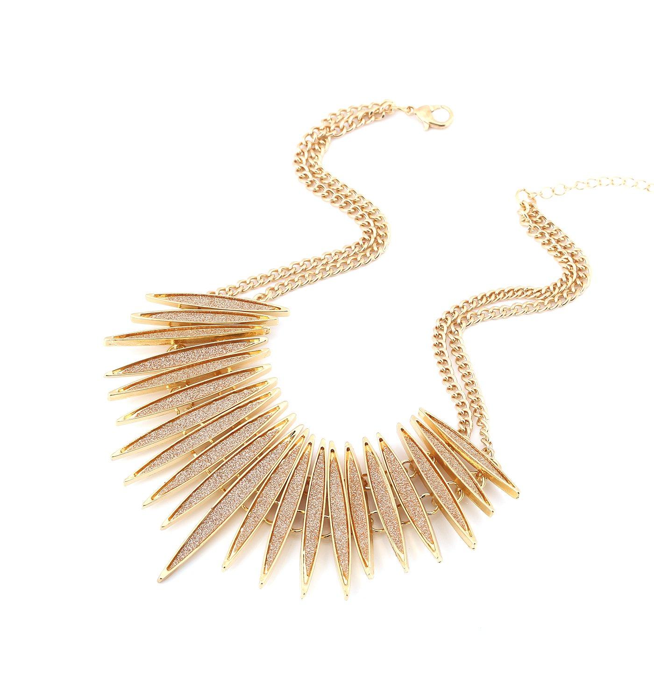 Sparkling Druzy Leaf Choker Necklace Fashion Gold-Tone Collar Necklace Bib Statement Chunky Tribal Necklace Woman Jewelry (gold)