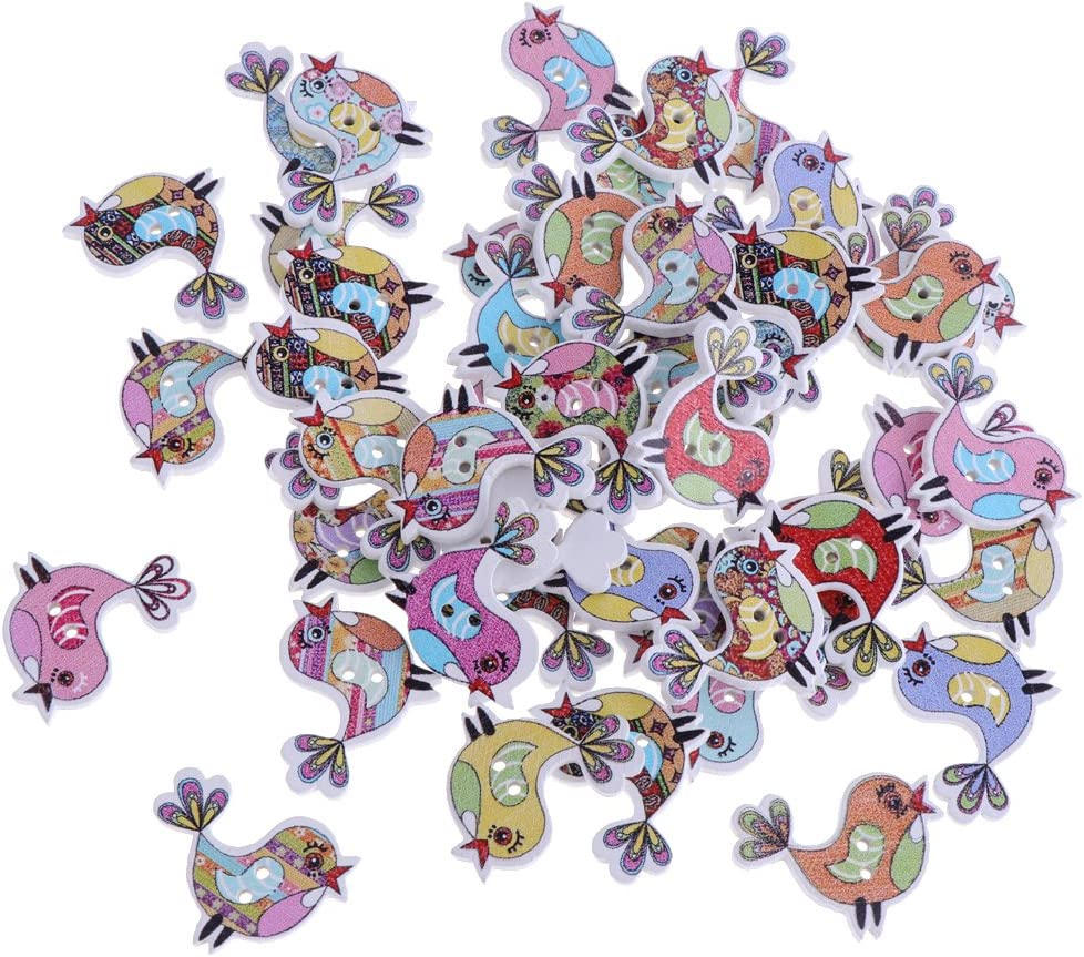 50 Pieces Lovely Cartoon Animal Wood Sewing Buttons 2-Holes for Scrapbooking Crafts Bear