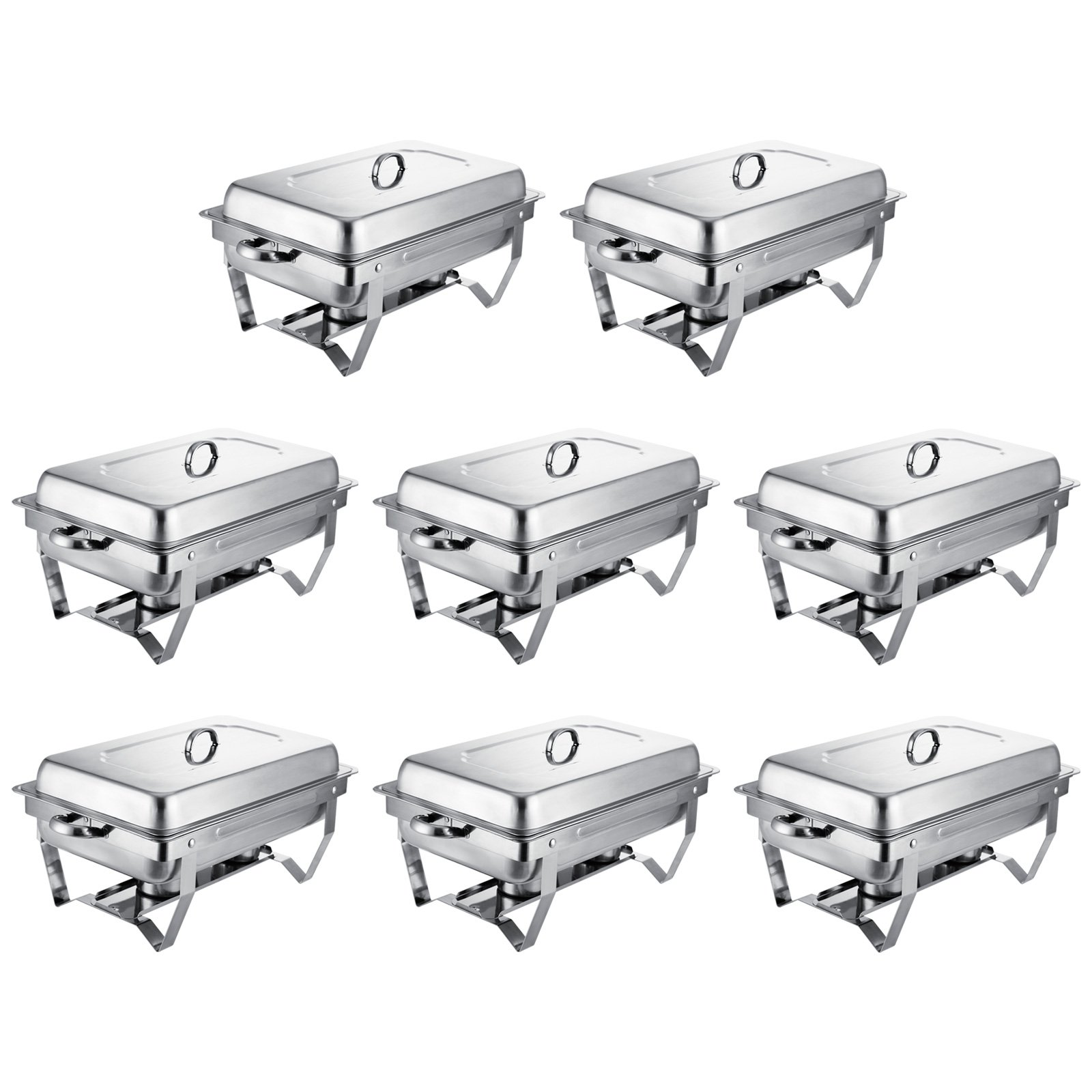 Mophorn Chafing Dish 8 Packs 8 Quart Stainless Steel Chafer Full Size Rectangular Chafers for Catering Buffet Warmer Set with Folding Frame (8 Packs) by Mophorn