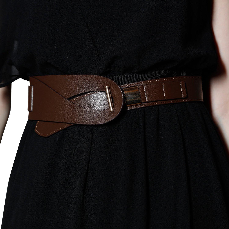 Wide Brown Genuine Cowhide Ladies Leather Belt