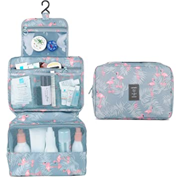 3da5367b7802 Hanging Travel Toiletry Bag Cosmetic Make up Organizer for Women and Girls  Waterproof (A-Flamingo)