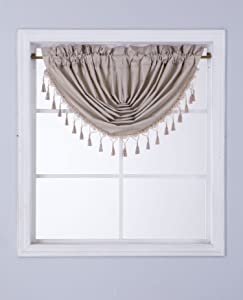 GorgeousHomeLinen (RS8) 1 Short Decorative Rod Pocket Foam Lined Blackout Silk Swag Waterfall Window Curtain Valance for Kitchen, Living Room, Bedroom, Nursery, Basement & Bathroom (Taupe Tan)
