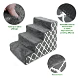 Best Pet Supplies 4-Step CertiPUR-US Certified Foam Pet Stairs/Steps, 24 x 15 x 19-Inch, Grey Lattice Print