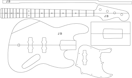 Amazon Com Electric Guitar Layout Template J Bass Office Products