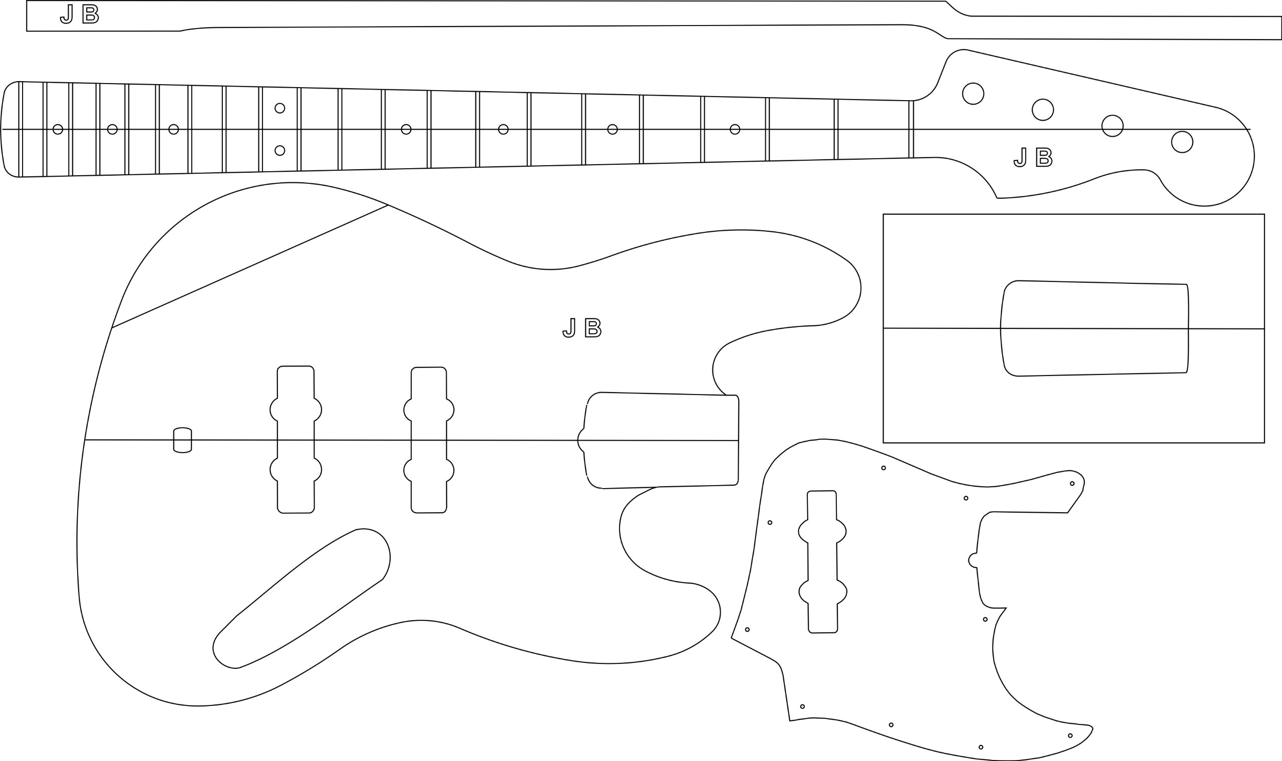 Electric Guitar Routing Template - J bass