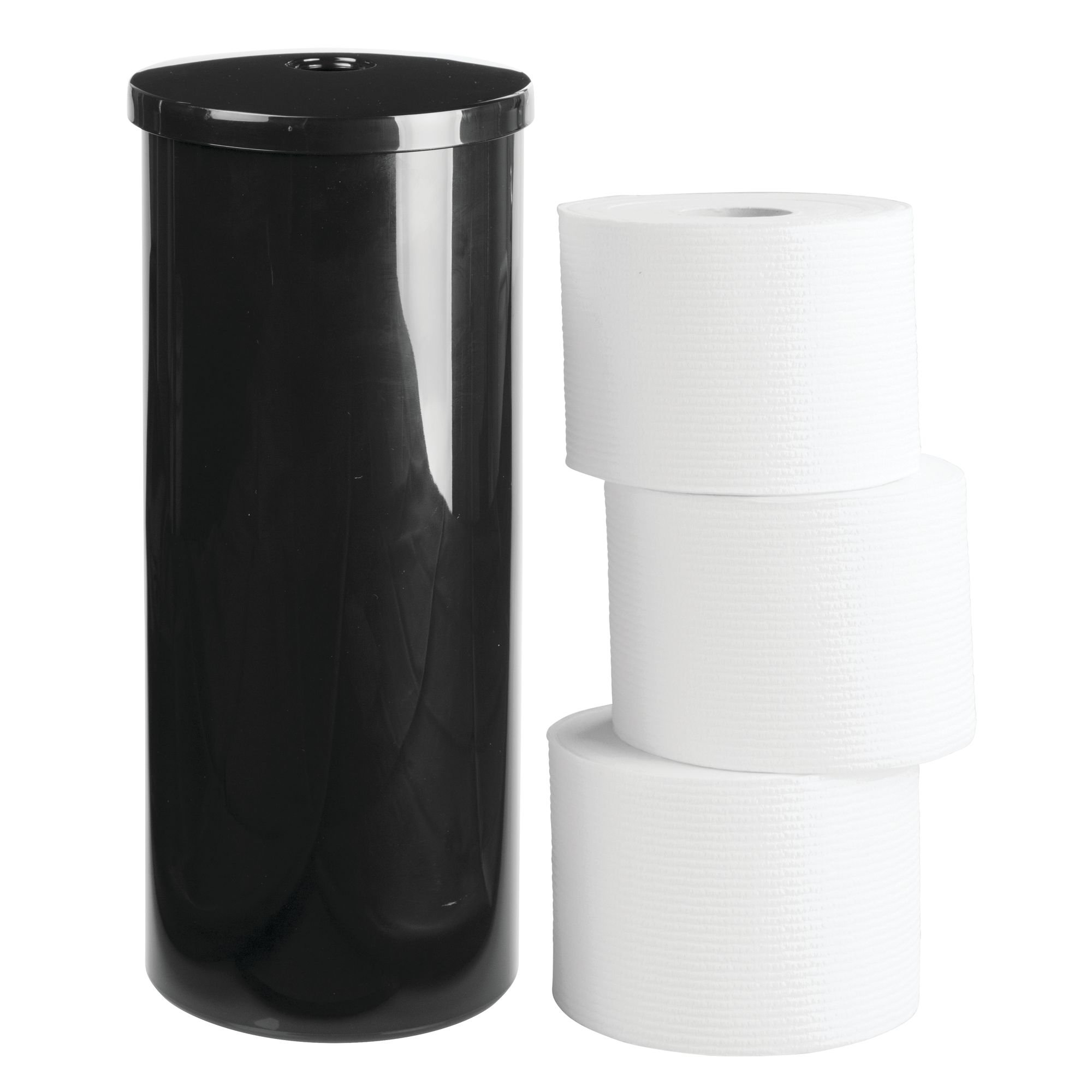 InterDesign Una Free Standing Toilet Paper Holder - Spare Roll Storage for Bathroom, Black by iDesign