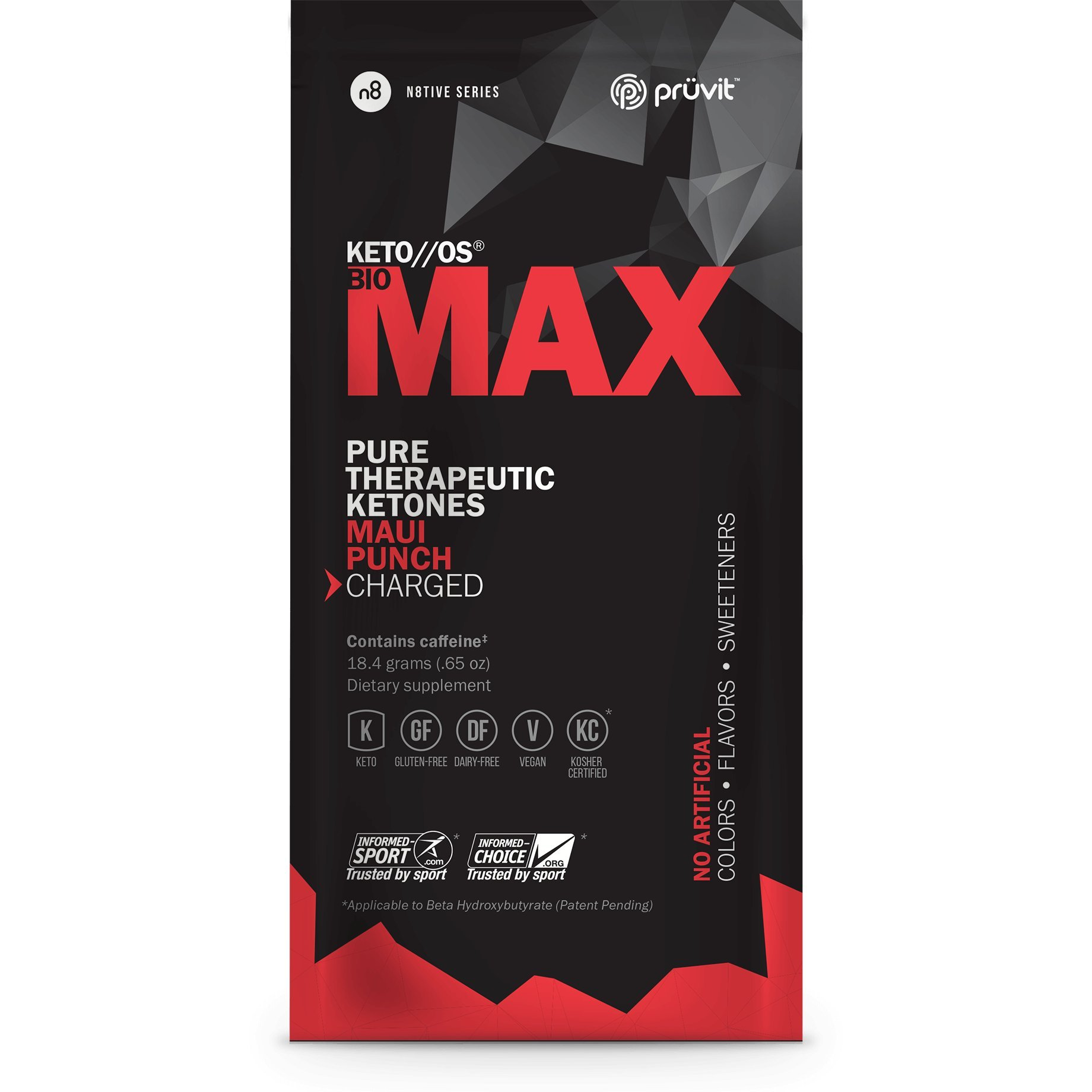 Pruvit KETO//OS Bio MAX Pure Therapeutic Ketones Drink Mix 10 Packets Maui Punch Flavor Charged by Pruvit (Image #1)