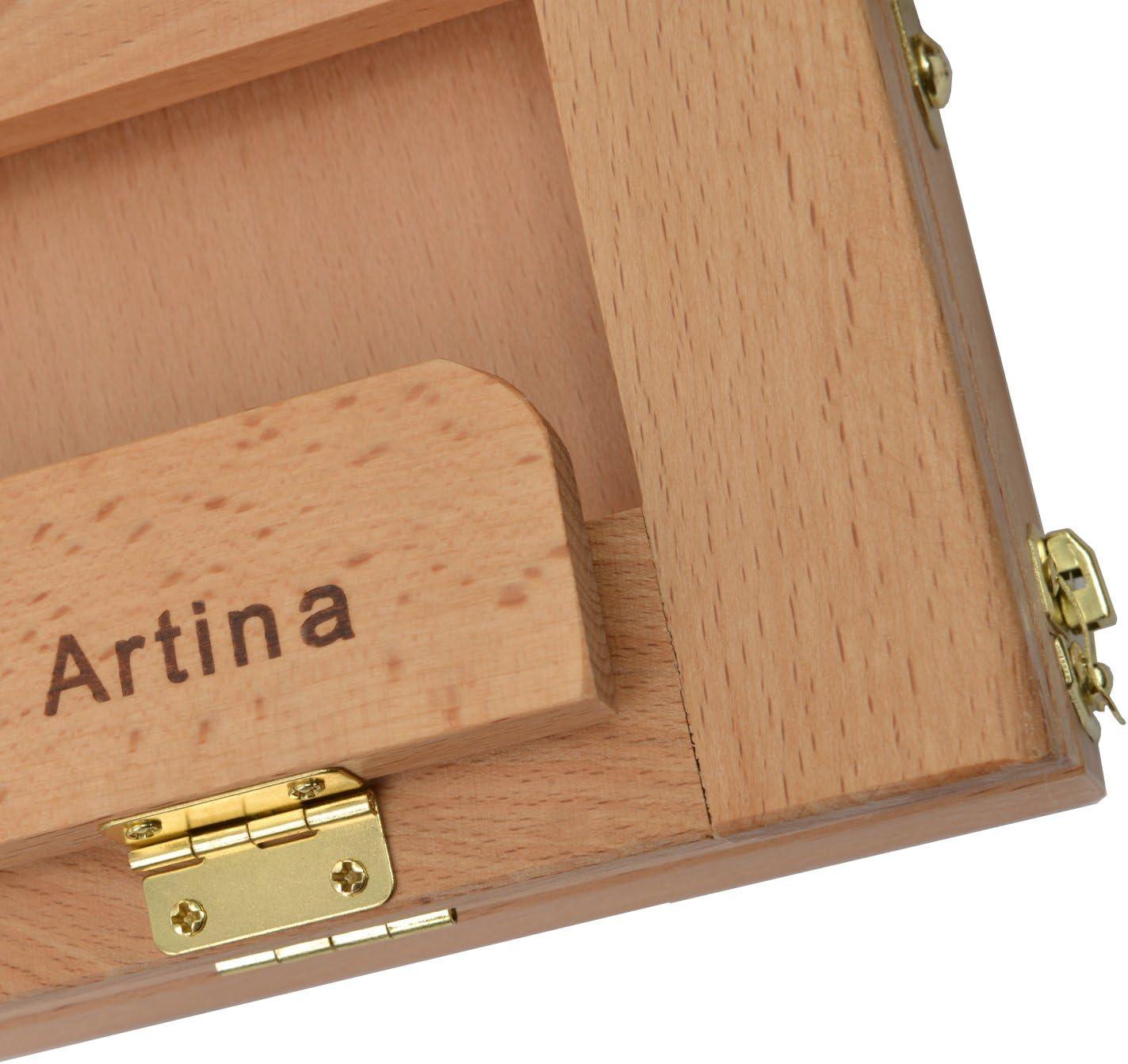 Artina Kofferstaffelei Colmar aus massivem Buchenholz mit Malset inkl Pinselset Malkarton und Acrylfarben