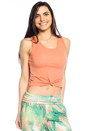 efbab7a5cac86c Amazon.com  Onzie Knot Crop Top-Peach-OS Womens Active Workout Yoga ...