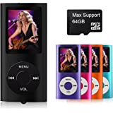 """MYMAHDI Support TF Cards Slim 1.8"""" LCD Mp3 Mp4 Player Media/Music/Audio Player with accessories Black"""