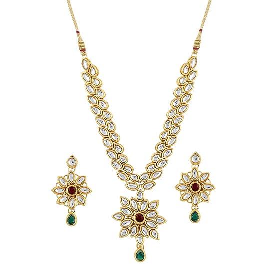Aradhya Metal Sleek Shining Gold Plated Kundan Necklace for Women Jewellery Sets