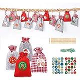 Aitsite 24 PCS Bolsa Calendario Adviento Bolsas Dulces Navidad Santa, Bag, 24 Bag de Tela + 48 Pegatinas Papel + 24 Mini…