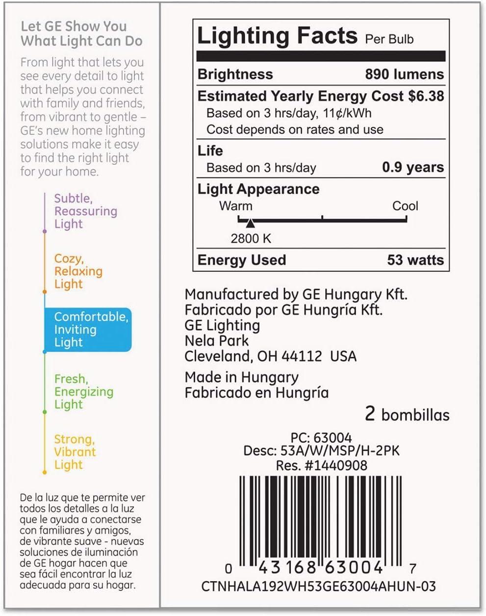 GE Lighting 63004 Soft White 53-Watt 4 Bulbs 890-Lumen A19 Light Bulb with Medium Base 75-watt Replacement