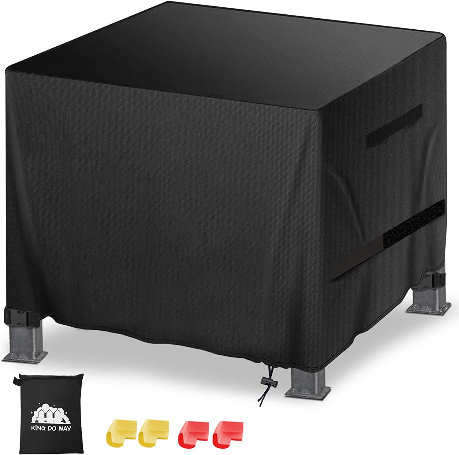 "king do way Fire Pit Furniture Cover 32""L x 32""W x 25""H with Two Velcro Straps and Four Buckles Waterproof Windproof Anti-UV Heavy Duty for Patio Firepit Furniture"