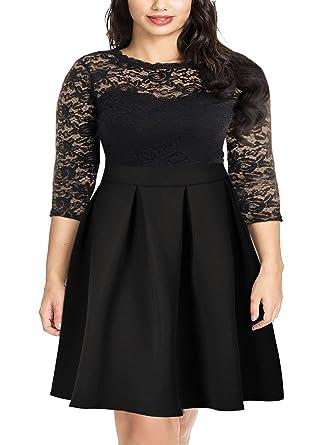 70ad88b3f6b Nemidor Women s Vintage Floral Lace 2 3 Sleeve Plus Size Cocktail Party  Dress - Black