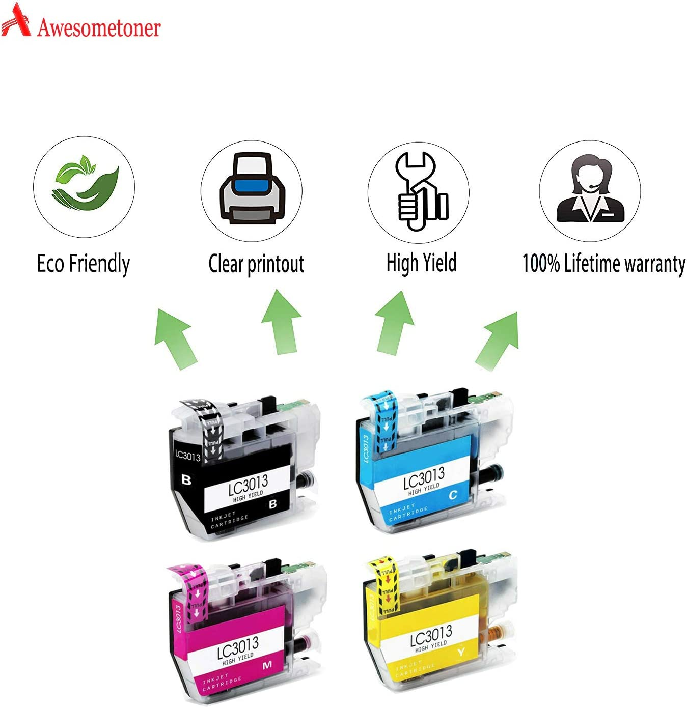 Black, Cyan, Magenta, Yellow, 4-Pack MFC-J497DW MFC-J491DW MFC-J895DW Awesometoner Compatible Ink Cartridge Replacement for Brother LC3013 use with MFC-J690DW