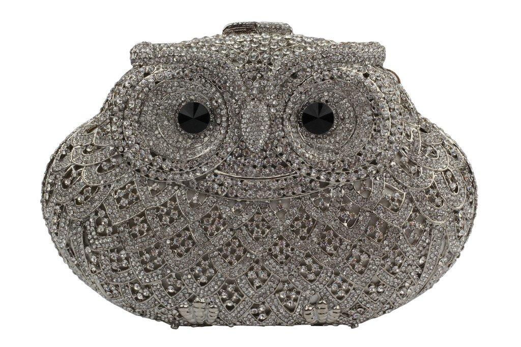 YILONGSHENG Owl Style Diamond Evening Handbags EB0723 Silver